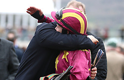Rachael Blackmore (right) celebrates victory at the Albert Bartlett Novices' Hurdle during Gold Cup Day of the 2019 Cheltenham Festival at Cheltenham Racecourse.