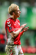 Charlton Athletic midfielder George Lapslie (32) applauds the home fans after the The FA Cup 2nd round match between Charlton Athletic and Doncaster Rovers at The Valley, London, England on 1 December 2018. Photo by Toyin Oshodi