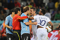 FOOTBALL - FIFA WORLD CUP 2010 - GROUP STAGE - GROUP A - URUGUAY v FRANCE - 11/06/2010 - PHOTO FRANCK FAUGERE / DPPI - CLASH BETWEEN DIEGO LUGANO (URU) / JEREMY TOULALAN (FRA)