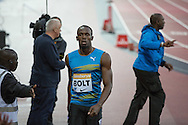 Usain Bolt of Jamaica winning the 100m heat during the Sainsbury's Anniversary Games at the Queen Elizabeth II Olympic Park, London, United Kingdom on 24 July 2015. Photo by Phil Duncan.