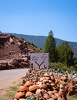 AL HAOUZ, MOROCCO - CIRCA MAY 2018: Pottery shop on  the High Atlas Mountains.