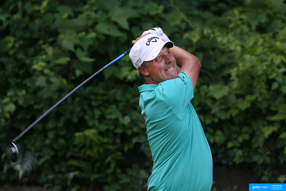Freddie Jacobson, Sweden, in action during the first round of the Travelers Championship at the TPC River Highlands, Cromwell, Connecticut, USA. 19th June 2014. Photo Tim Clayton