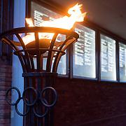 NLD/Amsterdam/20151210 - Ingang Olympisch Stadion Amsterdam met bord van alle steden waar de Olympische Spelen gehouden zijn