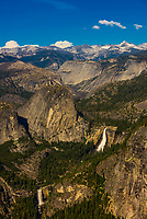 Liberty Cap with Nevada Fall (above) and Vernal Fall (below), Yosemite National Park, California USA.