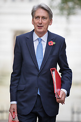 © Licensed to London News Pictures. 01/11/2016. London, UK. The Chancellor of The Exchequer Philip Hammond arrives on Downing Street for the weekly Cabinet meeting. Photo credit: Rob Pinney/LNP