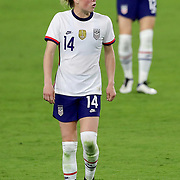 ORLANDO, FL - JANUARY 22:  Emily Sonnett #14 of United States plays against Colombia at Exploria Stadium on January 22, 2021 in Orlando, Florida. (Photo by Alex Menendez/Getty Images) *** Local Caption *** Emily Sonnett
