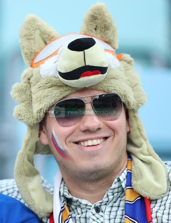SOCHI, July 7, 2018  A fan of Russia is seen prior to the 2018 FIFA World Cup quarter-final match between Russia and Croatia in Sochi, Russia, July 7, 2018. (Credit Image: © Xu Zijian/Xinhua via ZUMA Wire)