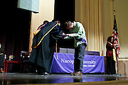 SHOT 5/10/15 3:12:55 PM - Naropa University Spring 2015 Commencement ceremonies at Macky Auditorium in Boulder, Co. Sunday. Parker J. Palmer, a world-renowned author and activist known for his work in education and social change, delivered the commencement speech to more than 300 graduate and undergraduate students along with Naropa faculty and graduate's family members. Naropa University is a private liberal arts college in Boulder, Colorado founded in 1974 by Tibetan Buddhist teacher and Oxford University scholar Chögyam Trungpa. (Photo by Marc Piscotty / © 2014)