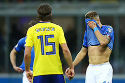 November 13, 2017 - Milan, Italy - FIFA World Cup Qualifiers play-off Switzerland v Northern Ireland.The disappointment of Ciro Immobile of Italy after a missed goal at San Siro Stadium in Milan, Italy on November 13, 2017..Photo Matteo Ciambelli / NurPhoto  (Credit Image: © Matteo Ciambelli/NurPhoto via ZUMA Press)