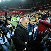 Galatasaray's coach Fatih Terim (L) and Fenerbahce's coach Aykut Kocaman (R) during their Turkish superleague soccer derby match Galatasaray between Fenerbahce at the TT Arena in Istanbul Turkey on Friday, 18 March 2011. Photo by TURKPIX