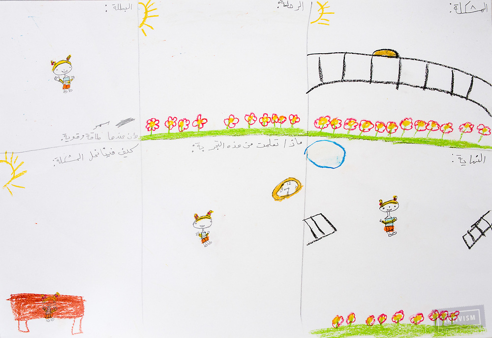 Stories by children, we have video and audio of them explaining the drawings.