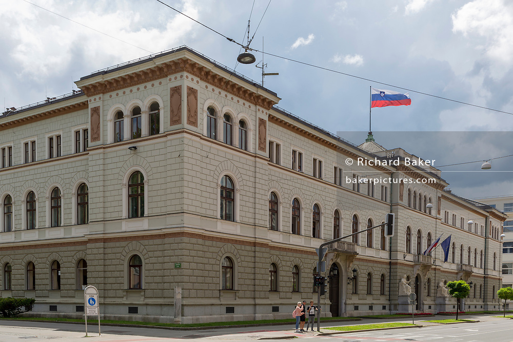 The Presidential Palace in the Slovenian capital, Ljubljana, on 27th June 2018, in Ljubljana, Slovenia. 2013 marked the 115th anniversary of the palace on Presernova street in Ljubljana. Architecturally, it is one of Ljubljana's landmark buildings, designed by engineer Rudolf Bauer and constructed by the Carniolan Building Society, which began works in 1886.