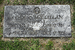 31 August 2017:   Veterans graves in Park Hill Cemetery in eastern McLean County.<br /> <br /> Clyde C McClellan  Illinois  Private First Class ENGR Combat BN  World War II  April 22 1908  Oct 17 1951
