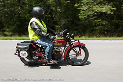 Brian Wallace riding his 1926 Indian Scout during Stage 3 of the Motorcycle Cannonball Cross-Country Endurance Run, which on this day ran from Columbus, GA to Chatanooga, TN., USA. Sunday, September 7, 2014.  Photography ©2014 Michael Lichter.
