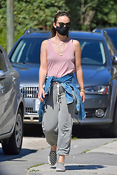 EXCLUSIVE: Olivia Wilde is the posterchild for social distancing as she takes a walk with a friend in Santa Monica. Olivia wore a face mask and made sure to keep her distance with her friend and others who walked near them. Olivia was all smiles as she enjoyed the sunny day. 14 Apr 2020 Pictured: Olivia Wilde. Photo credit: Snorlax / MEGA TheMegaAgency.com +1 888 505 6342