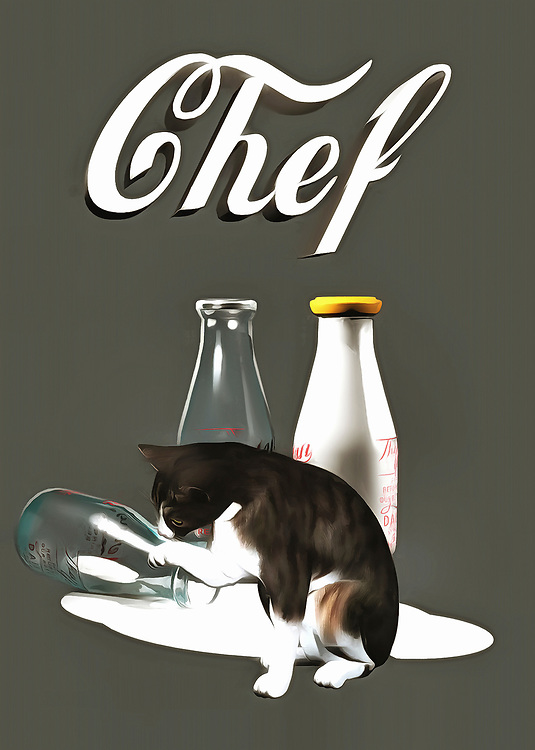 This fine art piece shows a cat looking at the aftermath of some spilled milk. You can't say for sure what the cat might be thinking, but you can be certain that Chef Kitty is going to make sure not a drop of that milk goes to waste. We also can't help but wonder if the recipe called for milk, and what the cat is going to do with the milk that has spilled to the ground. More likely than not, the cat will clean up the milk the old-fashioned way, before moving on to something else! What else do you think they will make? .<br />