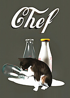 This fine art piece shows a cat looking at the aftermath of some spilled milk. You can't say for sure what the cat might be thinking, but you can be certain that Chef Kitty is going to make sure not a drop of that milk goes to waste. We also can't help but wonder if the recipe called for milk, and what the cat is going to do with the milk that has spilled to the ground. More likely than not, the cat will clean up the milk the old-fashioned way, before moving on to something else! What else do you think they will make? .<br /> <br /> BUY THIS PRINT AT<br /> <br /> FINE ART AMERICA<br /> ENGLISH<br /> https://janke.pixels.com/featured/chef-jan-keteleer.html<br /> <br /> WADM / OH MY PRINTS<br /> DUTCH / FRENCH / GERMAN<br /> https://www.werkaandemuur.nl/nl/shopwerk/Katten-Chef/436572/134