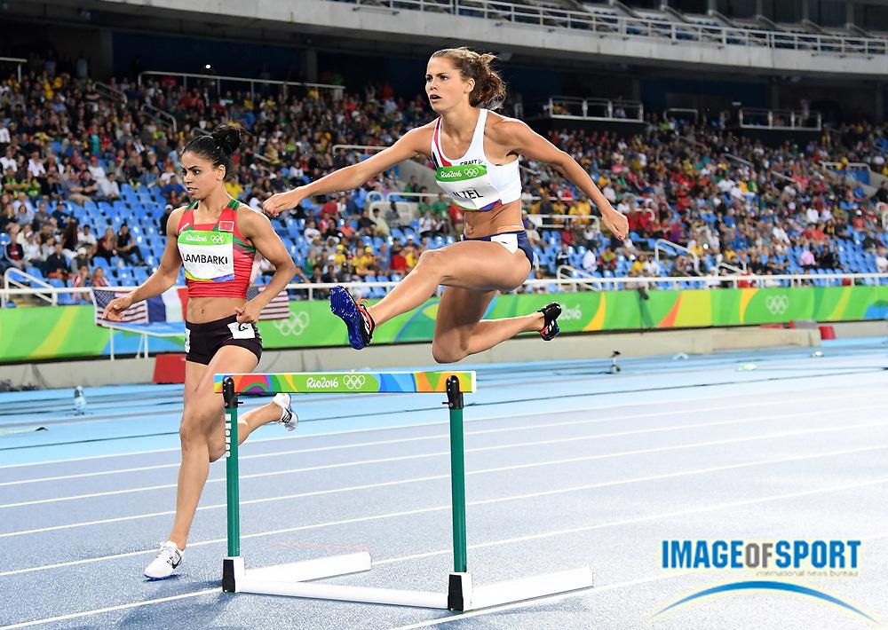 Aug 15, 2016; Rio de Janeiro, Brazil; Amalie Iuel (NOR) places sixth in women's 400m hurdles heat in 56.75 at Estadio Olimpico Joao Havelange in the Rio 2016 Summer Olympic Games.