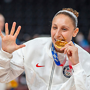 TOKYO, JAPAN August 8:  Five-time Olympic gold medalists Diana Taurasi of the United States after the team victory during the Japan V USA basketball final for women at the Saitama Super Arena during the Tokyo 2020 Summer Olympic Games on August 8, 2021 in Tokyo, Japan. (Photo by Tim Clayton/Corbis via Getty Images)