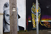 Graffiti wall painting, artwork by Otto Schade.in East Topping street on 21st April 2021 in Blackpool, Lancashire, United Kingdom.  The work was made in 2016 for the Sun, Spray and Art, Blackpools Urban Art Festival.