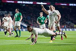 Anthony Watson of England scores a try - Mandatory byline: Patrick Khachfe/JMP - 07966 386802 - 27/02/2016 - RUGBY UNION - Twickenham Stadium - London, England - England v Ireland - RBS Six Nations.