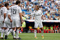 Real Madrid´s Michel Salgado celebrates a goal with his team mates during 2015 Corazon Classic Match between Real Madrid Leyendas and Liverpool Legends at Santiago Bernabeu stadium in Madrid, Spain. June 14, 2015. (ALTERPHOTOS/Victor Blanco)