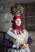 Miriam of the Trachtenverein Spalt e.V. is wearing traditional bridal costume in Spalt, Middle Frankonia, Germany on February 17, 2018.<br /> <br /> She is wearing a replica of the traditional catholic bridal dress from around 1870. The jewellery is original.