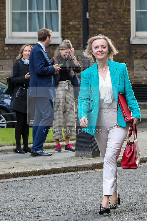 Elizabeth Truss, Secretary of State for International Trade and President of the Board of Trade, arrives in 10 Downing Street, London, ahead of a Cabinet meeting at the Foreign and Commonwealth Office on Wednesday, Sept 30, 2020.  On Wednesday MPs will be asked to renew emergency powers, originally passed in March, to tackle the pandemic. (VXP Photo/ Vudi Xhymshiti)