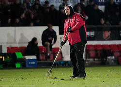 A general view of Rodney Parade, home of Dragons, pitch maintenance at half time<br /> <br /> Photographer Simon King/Replay Images<br /> <br /> Guinness Pro14 Round 10 - Dragons v Ulster - Friday 1st December 2017 - Rodney Parade - Newport<br /> <br /> World Copyright © 2017 Replay Images. All rights reserved. info@replayimages.co.uk - www.replayimages.co.uk
