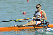 Banyoles, SPAIN, CZE M1X, Ondrej SYNEK moves away from the start in their heat of the men's single sculls during the FISA World Cup Rd 1. Lake Banyoles  Friday,  29/05/2009   [Mandatory Credit. Peter Spurrier/Intersport Images]