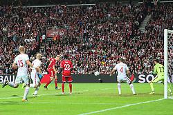 September 1, 2017 - Copenhagen, Denmark - Andreas Cornelius (DEN)  score a goal during the FIFA 2018 World Cup Qualifier between Denmark and Poland at Parken Stadion on September 1, 2017 in Copenhagen. (Credit Image: © Foto Olimpik/NurPhoto via ZUMA Press)