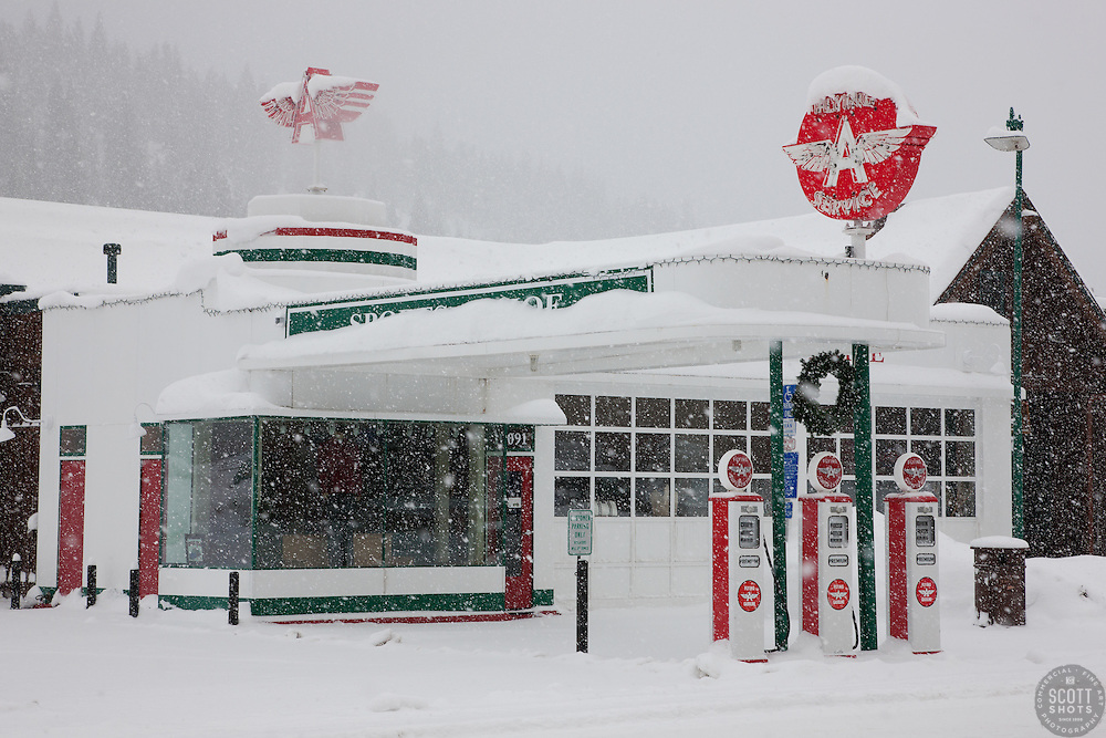 """""""Snowy Flying A in Truckee 2"""" - This snow covered replica of a Flying A gas station was photographed in the early morning in Downtown Truckee, California."""