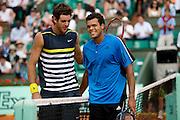 Paris, France. June  1st 2009. .Roland Garros - Tennis French Open. .Juan Martin Del Potro (left) won against Jo Wilfried Tsonga