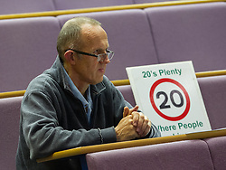 "© Licensed to London News Pictures . 06/11/2012 . Manchester , UK . A member of the audience and ""20's Plenty"" campaigner for lower speed limits . Manchester Police and Crime Commissioner debate this evening (6th November 2012) , at the Roscoe Building , the University of Manchester . Elections for 41 local Police and Crime Commissioners take place across the UK on 15th November 2012 . Photo credit : Joel Goodman/LNP"