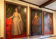 Family portraits oil paintings inside Berkeley castle, Gloucestershire, England, UK