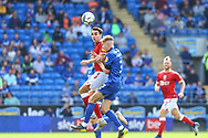 Bristol City's Matty James (6) under pressure from Cardiff City defender Joel Bagan (3) during the EFL Sky Bet Championship match between Cardiff City and Bristol City at the Cardiff City Stadium, Cardiff, Wales on 28 August 2021.