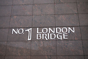 Sign for No. 1 London Bridge. This is where the offices of Price Waterhouse Coopers are situated.