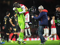 Football - 2019 / 2020 UEFA Europa League - Group F: Arsenal vs. Vitoria de Guimaraes<br /> <br /> Two goal hero, Nicolas Pepe is hugged by Arsenal goalkeeper, Emiliano Martinez at the final whistle at The Emirates Stadium.<br /> <br /> COLORSPORT/ANDREW COWIE