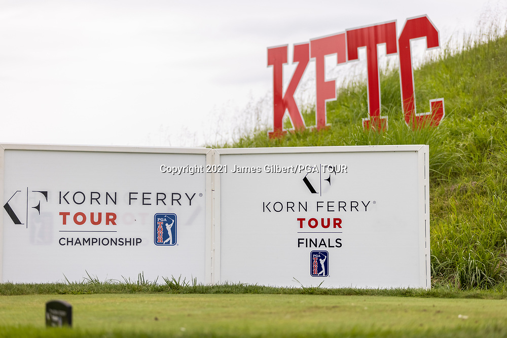 NEWBURGH, IN - SEPTEMBER 04: A view of signage on the 11th tee during the third round of the Korn Ferry Tour Championship presented by United Leasing and Financing at Victoria National Golf Club on September 4, 2021 in Newburgh, Indiana. (Photo by James Gilbert/PGA TOUR via Getty Images)