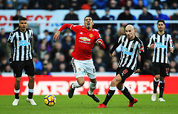 Chris Smalling of Manchester United dives after a challenge from Jonjo Shelvey of Newcastle United - Mandatory by-line: Matt McNulty/JMP - 11/02/2018 - FOOTBALL - St James Park - Newcastle upon Tyne, England - Newcastle United v Manchester United - Premier League