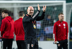 TALLINN, ESTONIA - Monday, October 11, 2021: Wales' manager Robert Page on the pitch before the FIFA World Cup Qatar 2022 Qualifying Group E match between Estonia and Wales at the A. Le Coq Arena. Wales won 1-0. (Pic by David Rawcliffe/Propaganda)