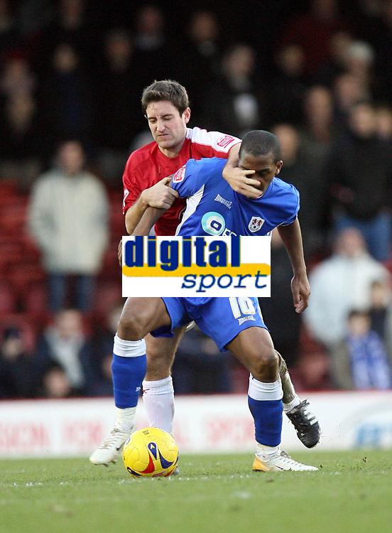 Photo: Rich Eaton.<br /> <br /> Bristol City v Millwall. Coca Cola League 1. 16/12/2006. Lee Johnson left of Bristol tackles Darren Byfield of Millwall