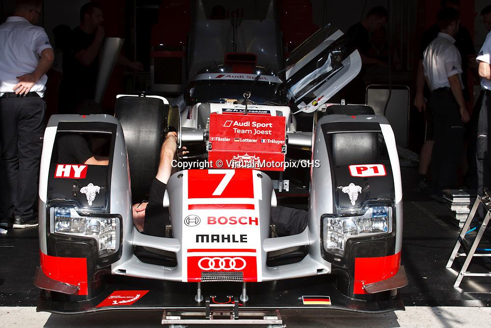 #7 Audi R18 e-tron quattro, Audi Sport Team Joest, Marcel Fassler, Andre Lotterer, Benoit Treluyer at Le Mans 24H, 2015