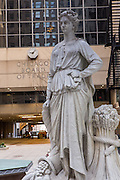 Original 1930 granite statue of Agriculture by Alvin Meyer outside the Chicago Board of Trade building Chicago, IL.