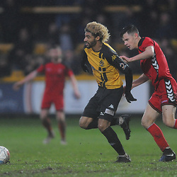TELFORD COPYRIGHT MIKE SHERIDAN 26/1/2019 - Devon Green of Southport holds off Ryan Barnett of AFC Telford (on loan from Shrewsbury Town Football Club) during the Vanarama Conference North fixture between AFC Telford United and Southport at the Merseyrail Community Stadium
