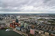Nederland, Zuid-Holland, Rotterdam, 23-10-2013; Kop van Zuid met Rijnhaven met het Drijvend Paviljoen. Hoogbouw langs de Posthumalaan en Laan op Zuid. In de achtergrond de Nieuwe Maas en het Noordereiland. Skyline van de binnenstad.<br /> Kop van Zuid - Head of South (Rotterdam), former harbour area, newly developed. High rise buildings, renowned architecture.<br /> luchtfoto (toeslag op standard tarieven);<br /> aerial photo (additional fee required);<br /> copyright foto/photo Siebe Swart
