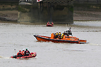 London Fire Brigade inflatable, RNLI Royal National Lifeboat Institution E class lifeboat Hurley Burley E-07, Emergency Services Exercise, Lambeth Reach River Thames, London UK, 23 October 2017, Photo by Richard Goldschmidt