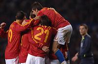 Photo: Paul Greenwood.<br />England v Spain. International Friendly. 07/02/2007. Spains players celebrate Iniesta's goal