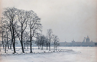 Zayachy Island in Saint Petersburg during winter time.
