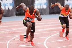 Samsung Diamond League adidas Grand Prix track & field; men's 200 meters, Nickel Ashmeade, JAM, explodes from starting blocks,